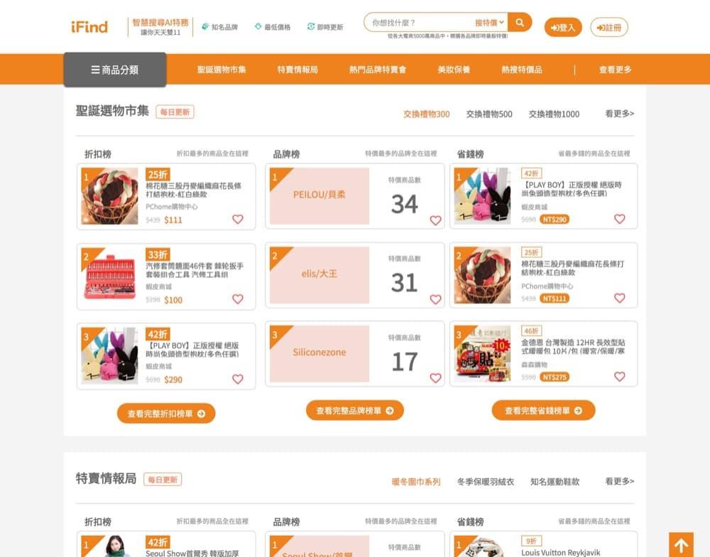 精選台灣電商優惠推介:iFind特價折扣排行榜:AI 找出最划算特價折扣!>馬上獲得詳情!